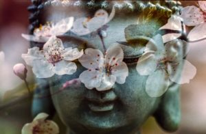 בודהה עם פרחים בעמוד דהרמה
